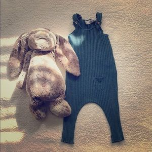 Zara Plush Ribbed Jumpsuit in Turquoise Color